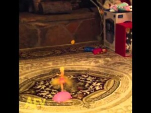 Toy fairy flies into fireplace
